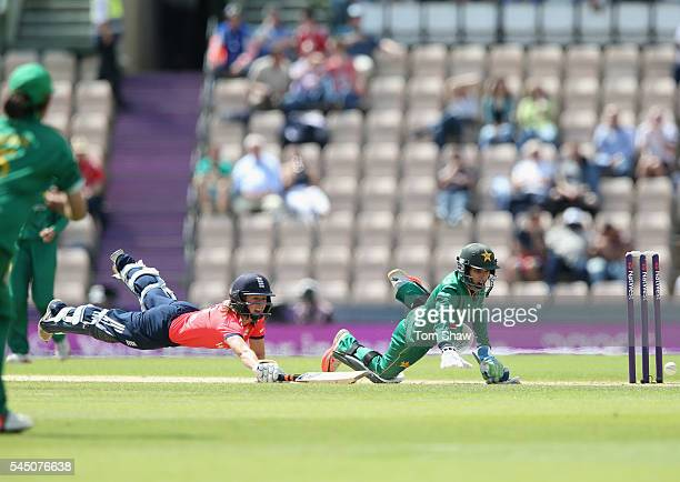 Danielle Wyatt of England dives to avoid being run out during the 2nd Natwest International T20 between England and Pakistan at Ageas Bowl on July 5...