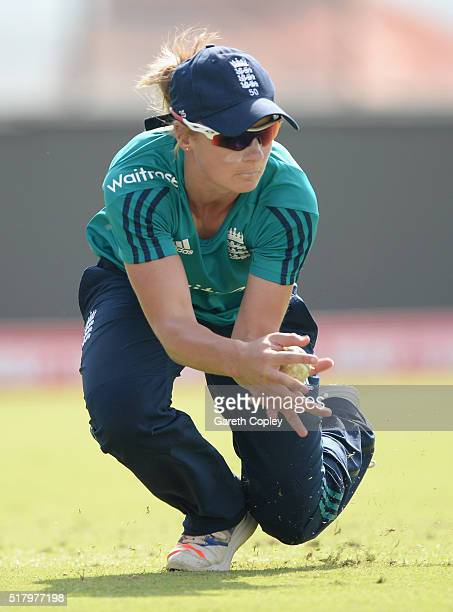 Danielle Wyatt of England fields the ball during a net session at Feroz Shah Kotla Stadium on March 29 2016 in Delhi India