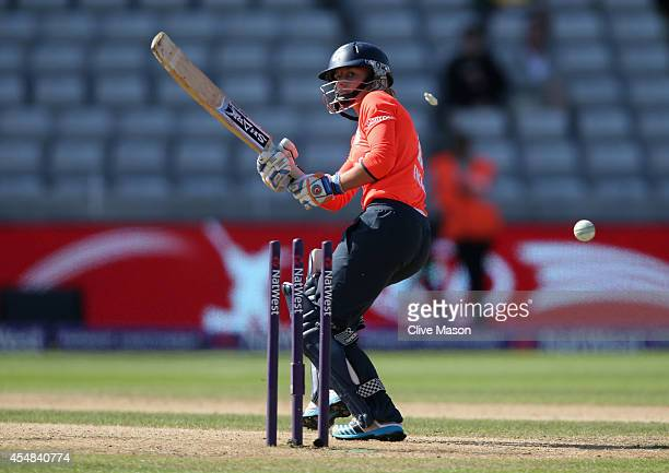 Danielle Wyatt of England is bowled during the NatWest Women's International T20 match between Engalnd Women and South Africa Women at Edgbaston on...