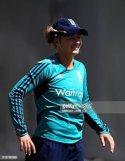 Danielle Wyatt of England looks on during a practice session during the Women's ICC World Twenty20 India 2016at the HPCA Stadium on March 21 2016 in...