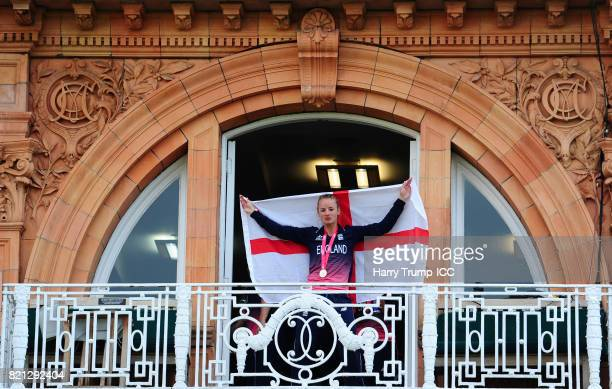 Danielle Wyatt of England poses on the balcony during the ICC Women's World Cup 2017 Final between England and India at Lord's Cricket Ground on July...