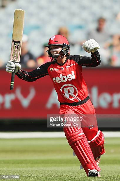 Danielle Wyatt of the Renegades celebrates hitting the winning runs during the Women's Big Bash League match between the Melbourne Stars and the...