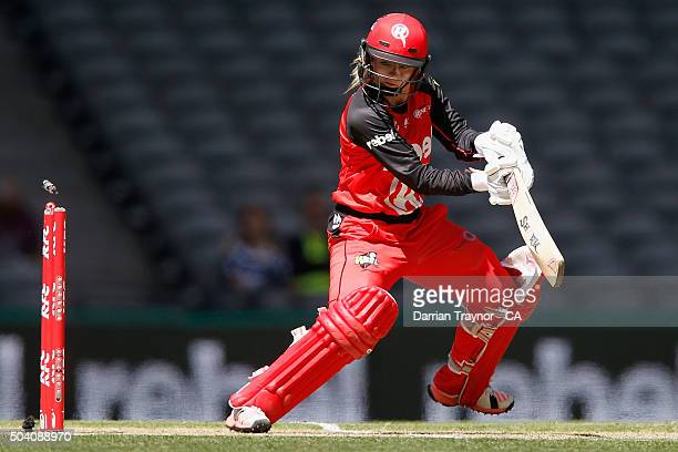 Danielle Wyatt of the Renegades is bowled during the Women's Big Bash League match between the Melbourne Renegades and the Sydney Thunder at Etihad...