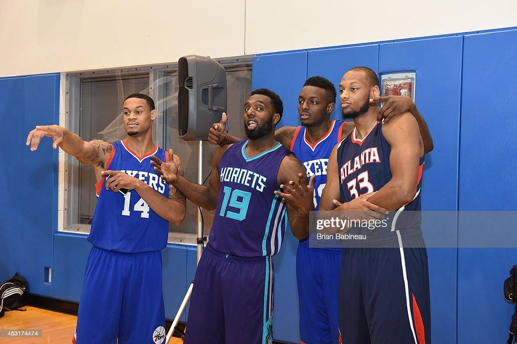 KJ Daniels of the Philadelphia 76er PJ Hairston of the Charlotte Hornets Jerami Grant of the Philadelphia 76ers and Adriean Payne of the Atlanta...