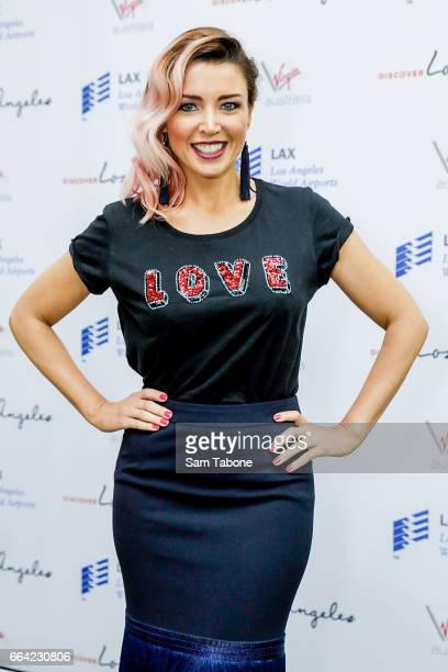 Danii Minogue during a press conference announcing Virgin Australia's new Melbourne to Los Angeles flights on April 4 2017 in Melbourne Australia