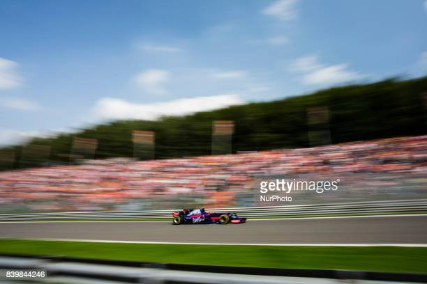 Daniil from Russia of team Toro Rosso during the Formula One Belgian Grand Prix at Circuit de SpaFrancorchamps on August 27 2017 in Spa Belgium