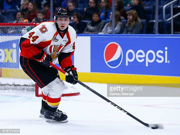 Daniil Kiselev of the Baie Comeau Drakkar skates against the Quebec Remparts during their QMJHL hockey game at the Centre Videotron on October 14...