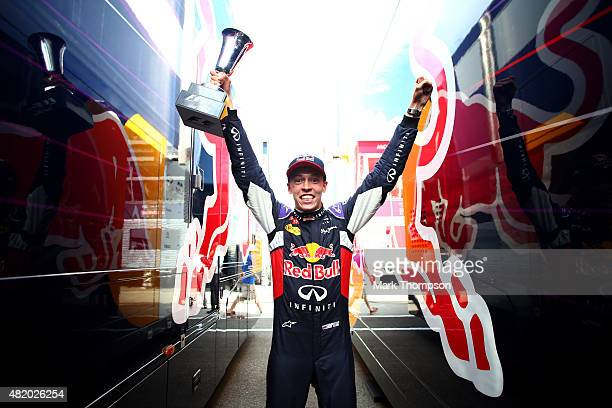 Daniil Kvyat of Russia and Infiniti Red Bull Racing celebrates after finishing second in the Formula One Grand Prix of Hungary at Hungaroring on July...