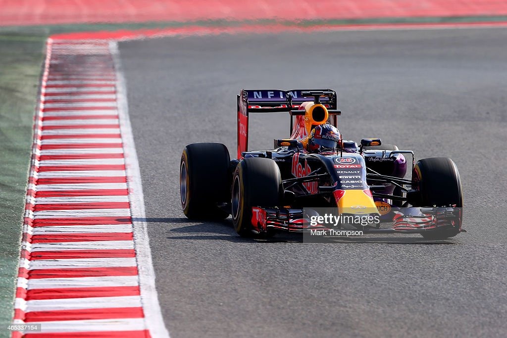 Daniil Kvyat of Russia and Infiniti Red Bull Racing drives during day two of Red Bull Racing filming at Circuit de Catalunya on March 3 2015 in...