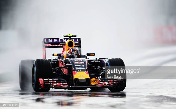 Daniil Kvyat of Russia and Infiniti Red Bull Racing drives during practice for the Formula One Grand Prix of Russia at Sochi Autodrom on October 9...