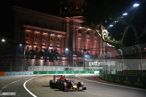 Daniil Kvyat of Russia and Infiniti Red Bull Racing drives during the Formula One Grand Prix of Singapore at Marina Bay Street Circuit on September...