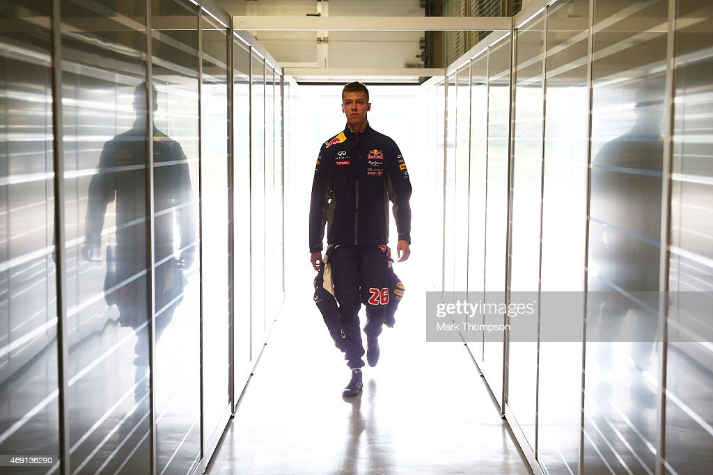 Daniil Kvyat of Russia and Infiniti Red Bull Racing enters the team garage during practice for the Formula One Grand Prix of China at Shanghai...