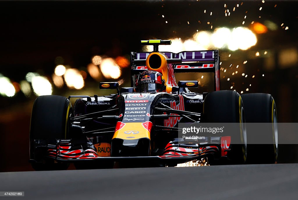 Daniil Kvyat of Russia and Infiniti Red Bull Racing exits the tunnel during practice for the Monaco Formula One Grand Prix at Circuit de Monaco on...