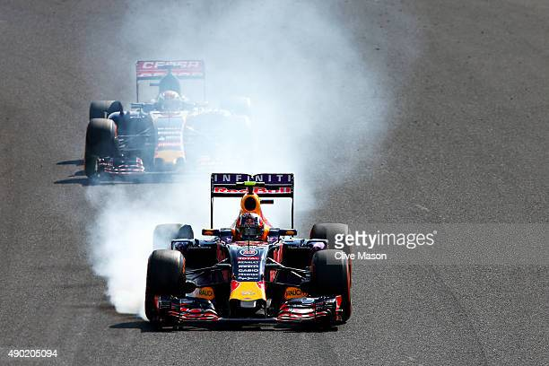Daniil Kvyat of Russia and Infiniti Red Bull Racing locks up during the Formula One Grand Prix of Japan at Suzuka Circuit on September 27 2015 in...