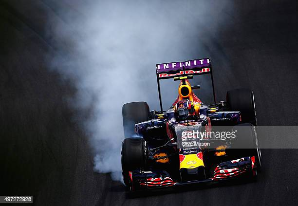 Daniil Kvyat of Russia and Infiniti Red Bull Racing locks up during the Formula One Grand Prix of Brazil at Autodromo Jose Carlos Pace on November 15...