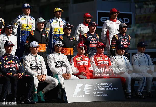 Daniil Kvyat of Russia and Infiniti Red Bull Racing Nico Rosberg of Germany and Mercedes GP Lewis Hamilton of Great Britain and Mercedes GP Sebastian...