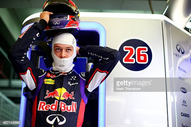Daniil Kvyat of Russia and Infiniti Red Bull Racing prepares in the garage during day four of Formula One Winter Testing at Circuito de Jerez on...