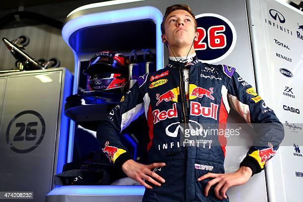 Daniil Kvyat of Russia and Infiniti Red Bull Racing prepares in the garage during practice for the Monaco Formula One Grand Prix at Circuit de Monaco...