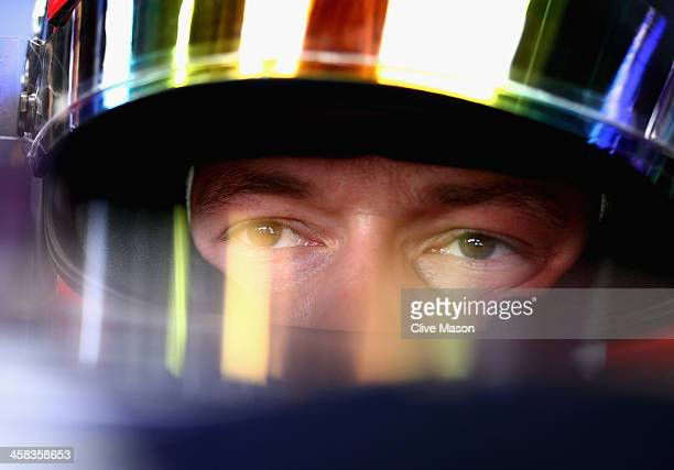 Daniil Kvyat of Russia and Infiniti Red Bull Racing sits in his car in the garage during practice for the Formula One Grand Prix of Brazil at...