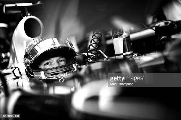 Daniil Kvyat of Russia and Infiniti Red Bull Racing sits in his car in the garage during qualifying for the Formula One Grand Prix of Hungary at...