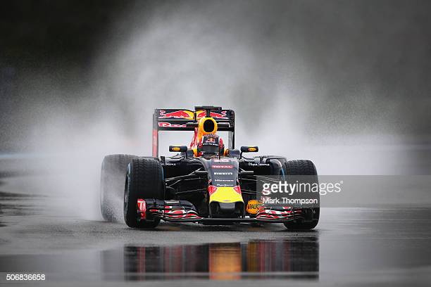Daniil Kvyat of Russia and Red Bull Racing drives during wet weather tyre testing at Circuit Paul Ricard on January 26 2016 in Le Castellet France