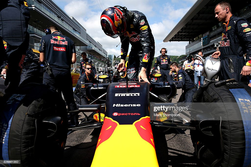 Daniil Kvyat of Russia and Red Bull Racing gets out of his car on the grid ahead of the Formula One Grand Prix of Russia at Sochi Autodrom on May 1, 2016 in Sochi, Russia.