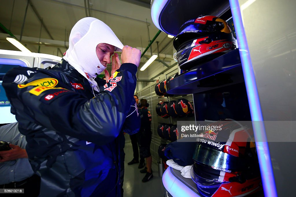 <a gi-track='captionPersonalityLinkClicked' href=/galleries/search?phrase=Daniil+Kvyat&family=editorial&specificpeople=10936016 ng-click='$event.stopPropagation()'>Daniil Kvyat</a> of Russia and Red Bull Racing gets ready in the garage during practice for the Formula One Grand Prix of Russia at Sochi Autodrom on April 29, 2016 in Sochi, Russia.