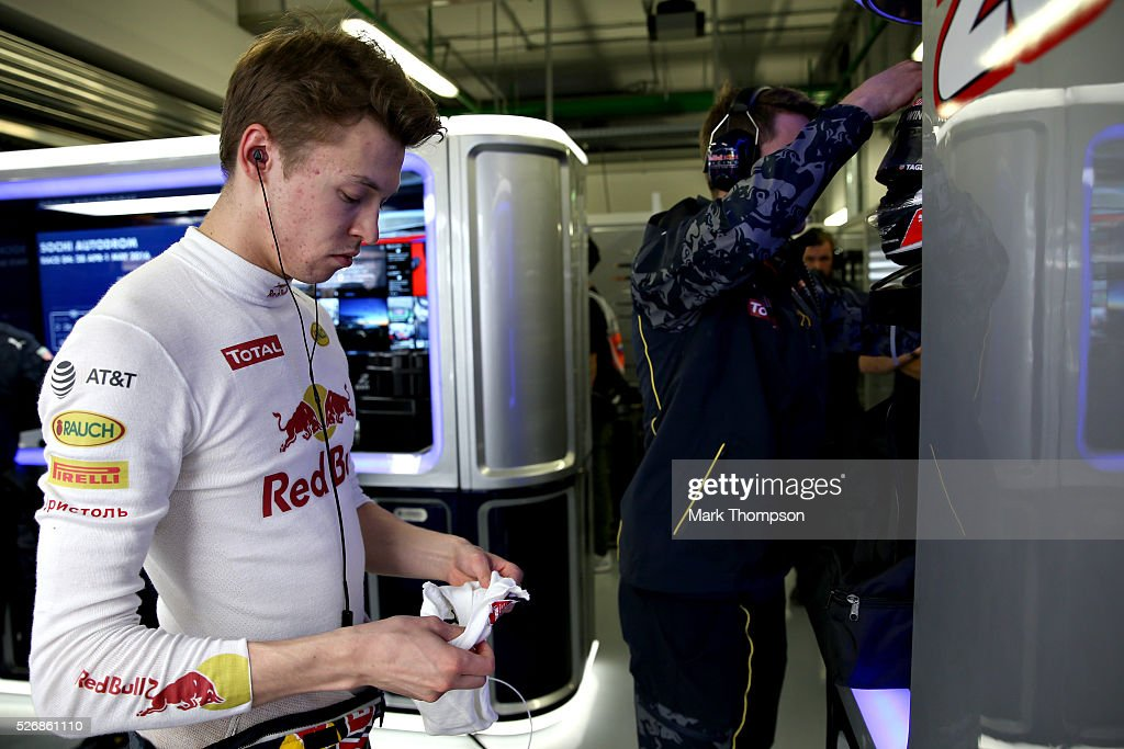 Daniil Kvyat of Russia and Red Bull Racing gets ready in the garage ahead of the Formula One Grand Prix of Russia at Sochi Autodrom on May 1, 2016 in Sochi, Russia.
