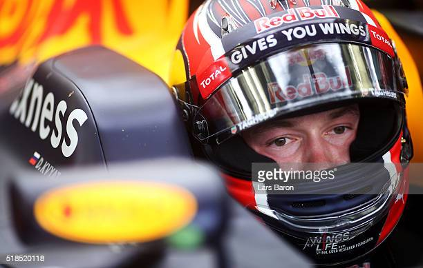 Daniil Kvyat of Russia and Red Bull Racing in the garage during practice for the Bahrain Formula One Grand Prix at Bahrain International Circuit on...