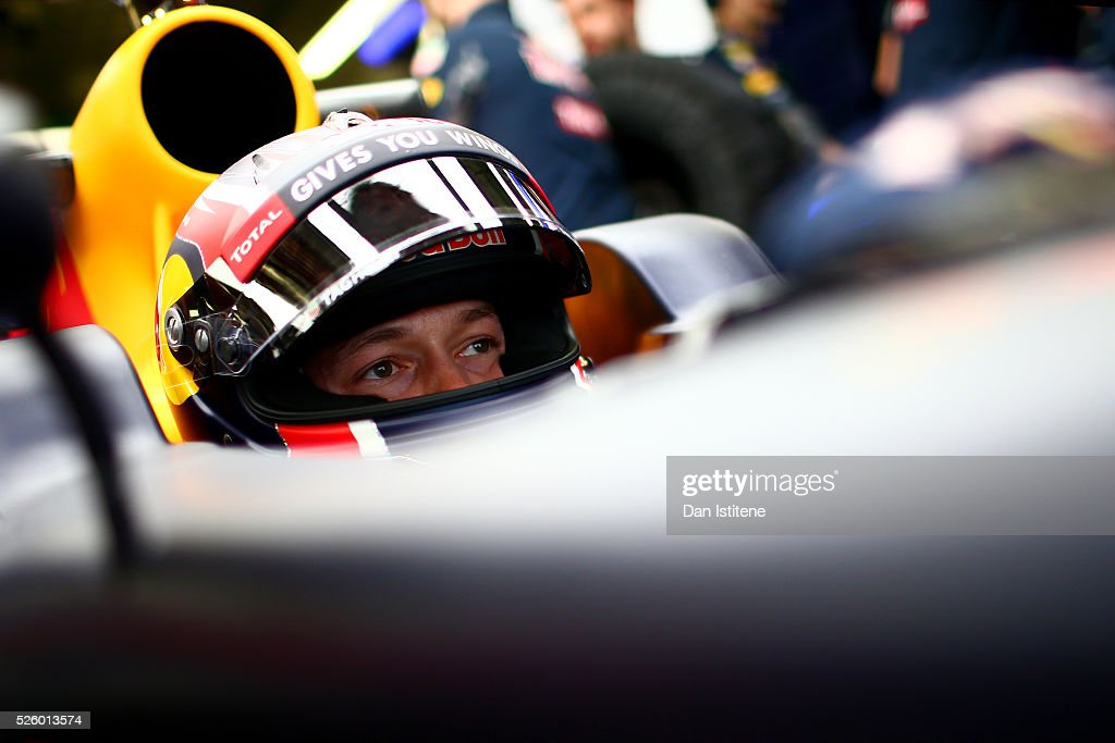 Daniil Kvyat of Russia and Red Bull Racing in the garage during practice for the Formula One Grand Prix of Russia at Sochi Autodrom on April 29, 2016 in Sochi, Russia.