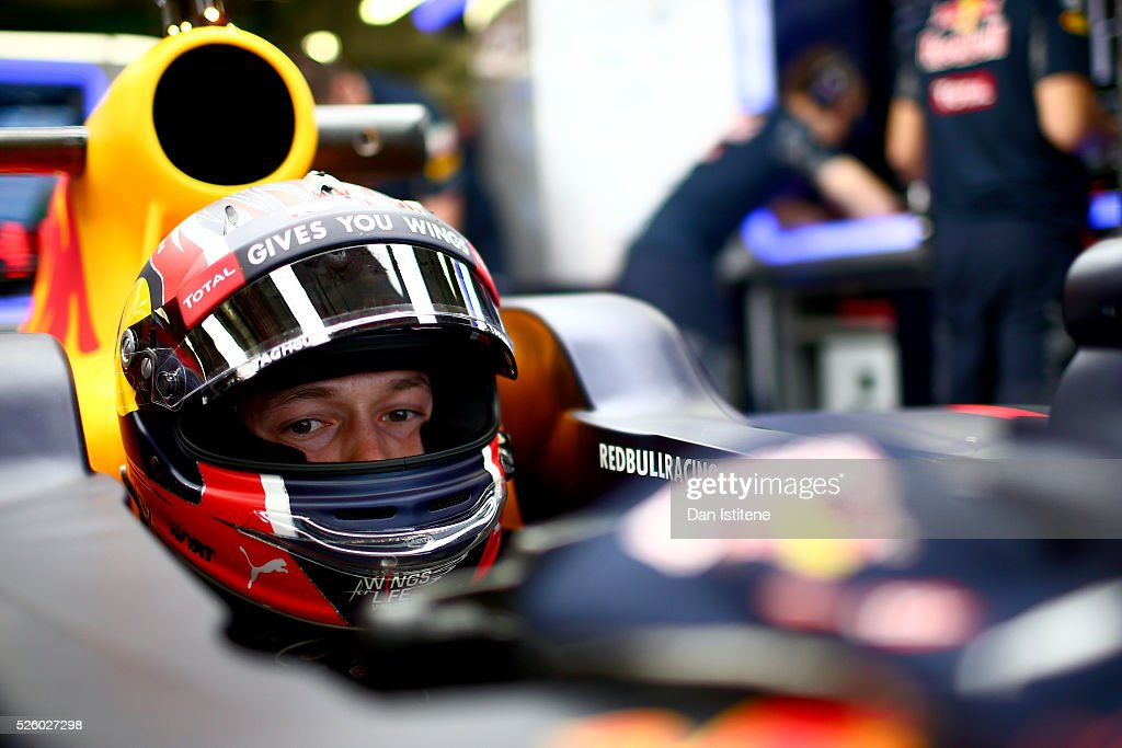 <a gi-track='captionPersonalityLinkClicked' href=/galleries/search?phrase=Daniil+Kvyat&family=editorial&specificpeople=10936016 ng-click='$event.stopPropagation()'>Daniil Kvyat</a> of Russia and Red Bull Racing in the garage during practice for the Formula One Grand Prix of Russia at Sochi Autodrom on April 29, 2016 in Sochi, Russia.