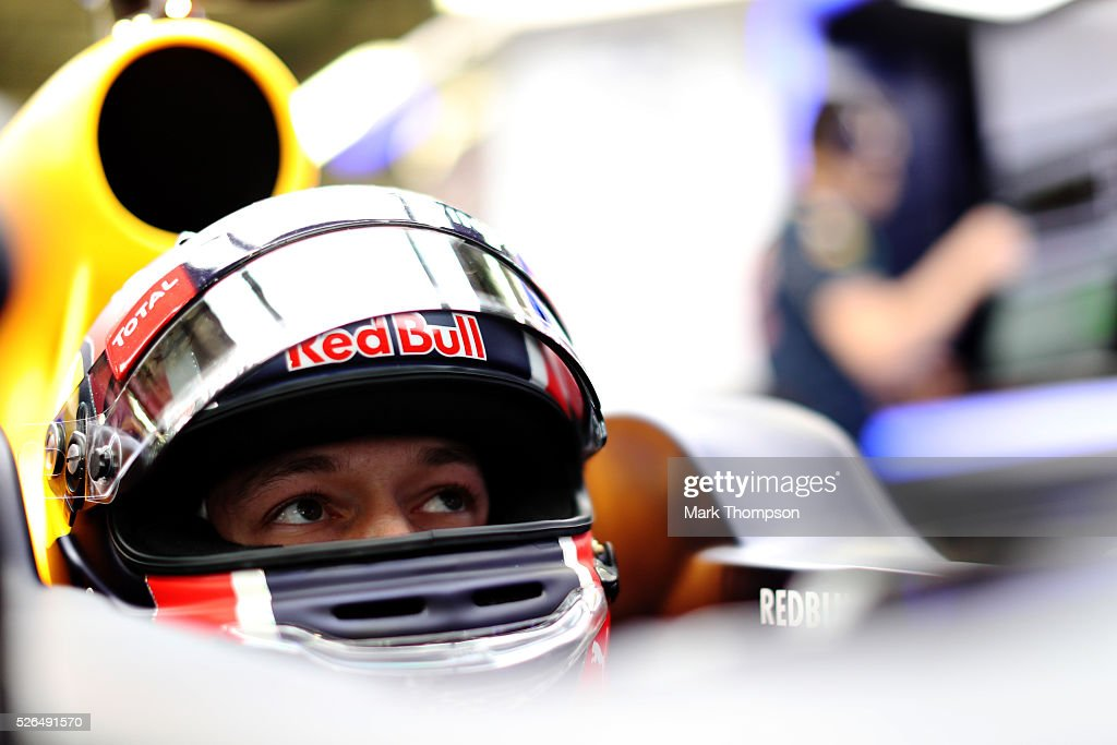Daniil Kvyat of Russia and Red Bull Racing in the garage during qualifying for the Formula One Grand Prix of Russia at Sochi Autodrom on April 30, 2016 in Sochi, Russia.