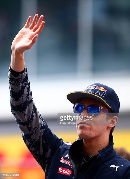 Daniil Kvyat of Russia and Red Bull Racing on the drivers parade ahead of the Formula One Grand Prix of Russia at Sochi Autodrom on May 1 2016 in...