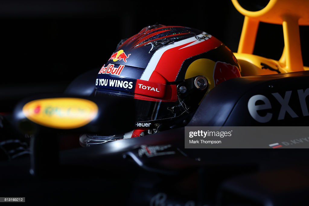 Daniil Kvyat of Russia and Red Bull Racing prepares to exit the garage during day four of F1 winter testing at Circuit de Catalunya on February 25, 2016 in Montmelo, Spain.