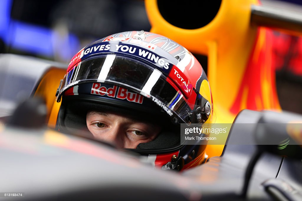 Daniil Kvyat of Russia and Red Bull Racing sits in his car in the garage during day four of F1 winter testing at Circuit de Catalunya on February 25, 2016 in Montmelo, Spain.