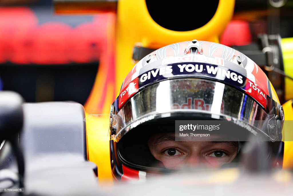 Daniil Kvyat of Russia and Red Bull Racing sits in his car in the garage during practice for the Formula One Grand Prix of Russia at Sochi Autodrom on April 29, 2016 in Sochi, Russia.
