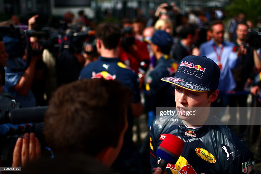 <a gi-track='captionPersonalityLinkClicked' href=/galleries/search?phrase=Daniil+Kvyat&family=editorial&specificpeople=10936016 ng-click='$event.stopPropagation()'>Daniil Kvyat</a> of Russia and Red Bull Racing talks to the press in the Paddock during practice for the Formula One Grand Prix of Russia at Sochi Autodrom on April 29, 2016 in Sochi, Russia.