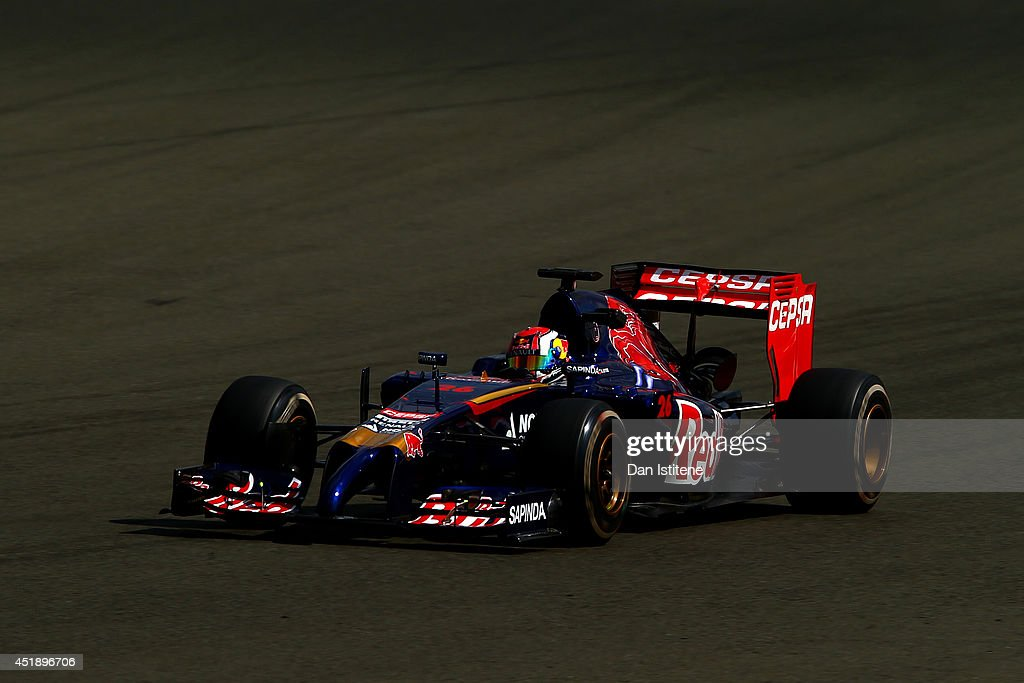Daniil Kvyat of Russia and Scuderia Toro Rosso drives during day two of testing at Silverstone Circuit on July 9, 2014 in Northampton, England.