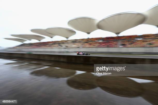 Daniil Kvyat of Russia and Scuderia Toro Rosso drives during final practice ahead of the Chinese Formula One Grand Prix at the Shanghai International...