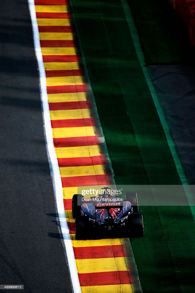 Daniil Kvyat of Russia and Scuderia Toro Rosso drives during practice ahead of the Belgian Grand Prix at Circuit de Spa-Francorchamps on August 22, 2014 in Spa, Belgium.