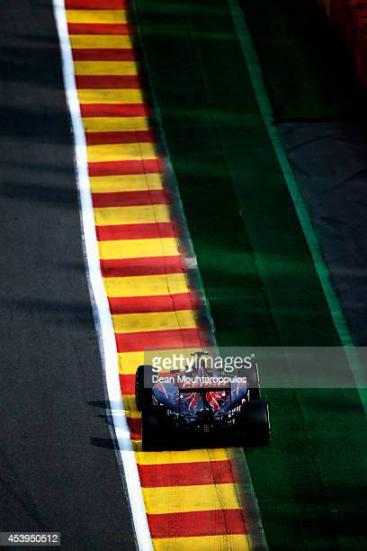 Daniil Kvyat of Russia and Scuderia Toro Rosso drives during practice ahead of the Belgian Grand Prix at Circuit de SpaFrancorchamps on August 22...