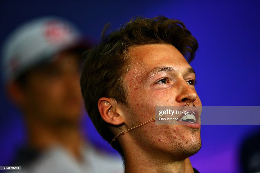 <a gi-track='captionPersonalityLinkClicked' href=/galleries/search?phrase=Daniil+Kvyat&family=editorial&specificpeople=10936016 ng-click='$event.stopPropagation()'>Daniil Kvyat</a> of Russia and Scuderia Toro Rosso in the Drivers Press Conference during previews ahead of the Formula One Grand Prix of Austria at Red Bull Ring on June 30, 2016 in Spielberg, Austria.
