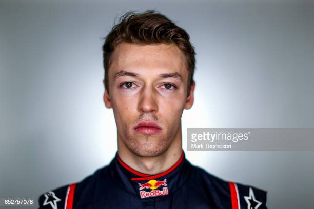 Daniil Kvyat of Russia and Scuderia Toro Rosso poses for a portrait during day two of Formula One winter testing at Circuit de Catalunya on March 8...