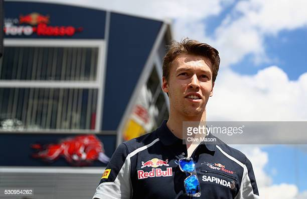 Daniil Kvyat of Russia and Scuderia Toro Rosso walks in the Paddock during previews to the Spanish Formula One Grand Prix at Circuit de Catalunya on...
