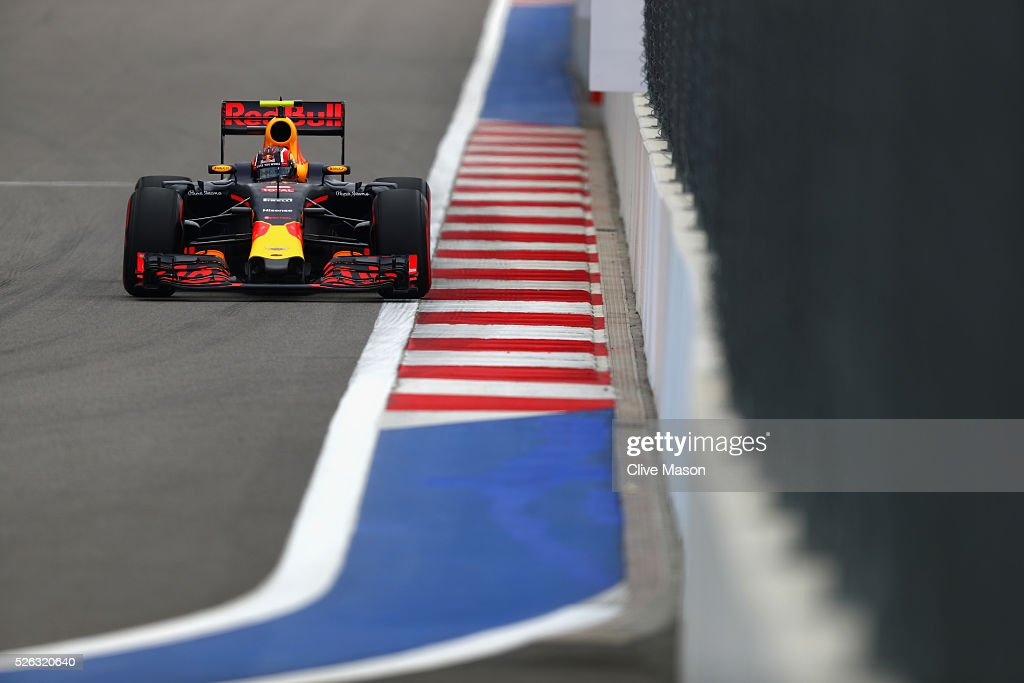 <a gi-track='captionPersonalityLinkClicked' href=/galleries/search?phrase=Daniil+Kvyat&family=editorial&specificpeople=10936016 ng-click='$event.stopPropagation()'>Daniil Kvyat</a> of Russia driving the (26) Red Bull Racing Red Bull-TAG Heuer RB12 TAG Heuer on track during final practice ahead of the Formula One Grand Prix of Russia at Sochi Autodrom on April 30, 2016 in Sochi, Russia.