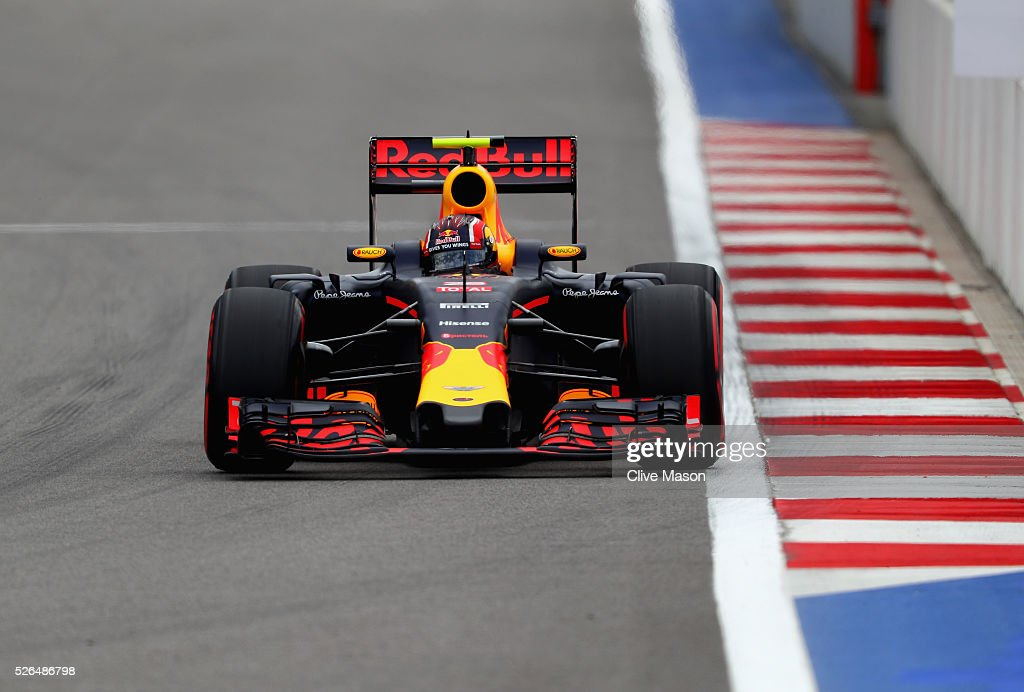 Daniil Kvyat of Russia driving the (26) Red Bull Racing Red Bull-TAG Heuer RB12 TAG Heuer on track during final practice ahead of the Formula One Grand Prix of Russia at Sochi Autodrom on April 30, 2016 in Sochi, Russia.