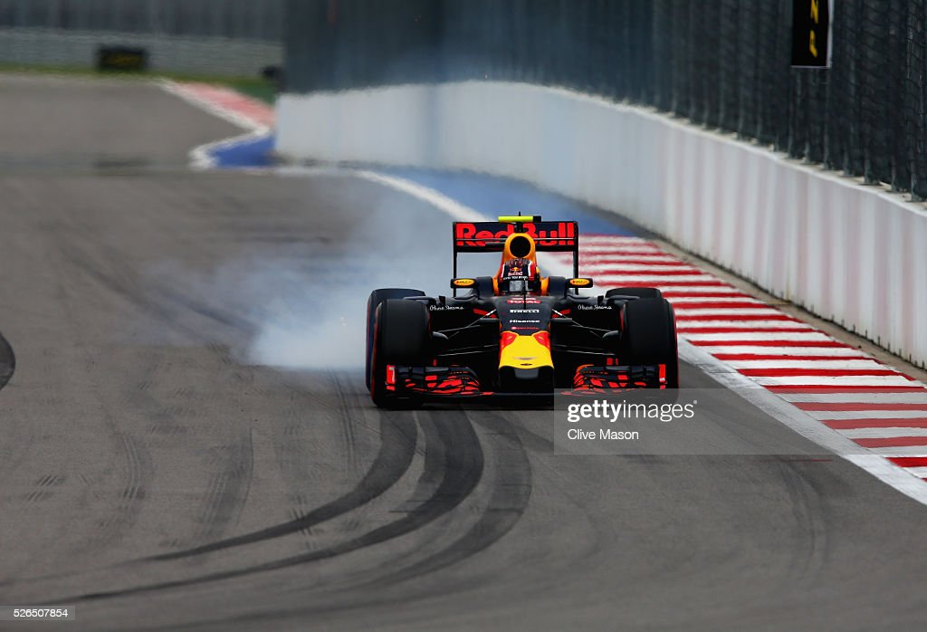 Daniil Kvyat of Russia driving the (26) Red Bull Racing Red Bull-TAG Heuer RB12 TAG Heuer locks a wheel under braking during qualifying for the Formula One Grand Prix of Russia at Sochi Autodrom on April 30, 2016 in Sochi, Russia.