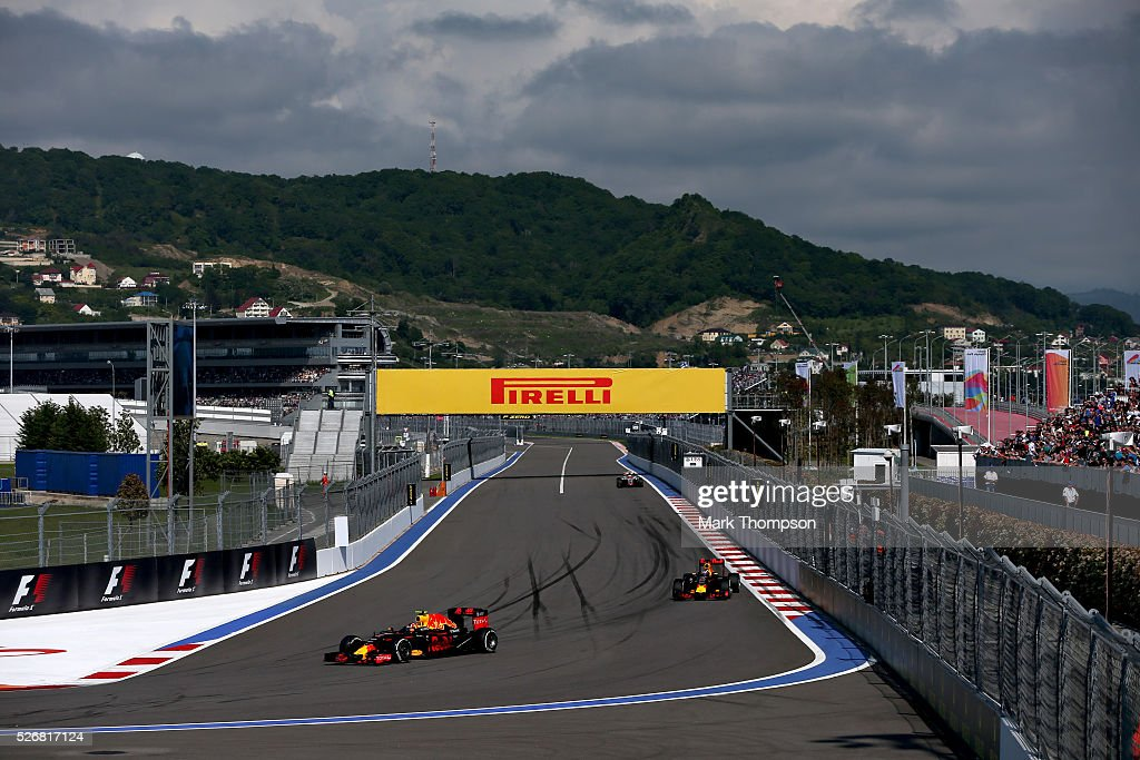 <a gi-track='captionPersonalityLinkClicked' href=/galleries/search?phrase=Daniil+Kvyat&family=editorial&specificpeople=10936016 ng-click='$event.stopPropagation()'>Daniil Kvyat</a> of Russia driving the (26) Red Bull Racing Red Bull-TAG Heuer RB12 TAG Heuer ahead of <a gi-track='captionPersonalityLinkClicked' href=/galleries/search?phrase=Daniel+Ricciardo&family=editorial&specificpeople=6547569 ng-click='$event.stopPropagation()'>Daniel Ricciardo</a> of Australia driving the (3) Red Bull Racing Red Bull-TAG Heuer RB12 TAG Heuer on track during the Formula One Grand Prix of Russia at Sochi Autodrom on May 1, 2016 in Sochi, Russia.