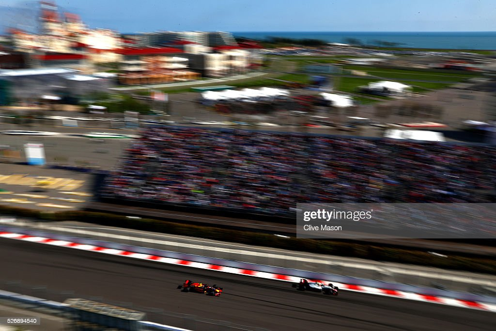 <a gi-track='captionPersonalityLinkClicked' href=/galleries/search?phrase=Daniil+Kvyat&family=editorial&specificpeople=10936016 ng-click='$event.stopPropagation()'>Daniil Kvyat</a> of Russia driving the (26) Red Bull Racing Red Bull-TAG Heuer RB12 TAG Heuer on track during the Formula One Grand Prix of Russia at Sochi Autodrom on May 1, 2016 in Sochi, Russia.
