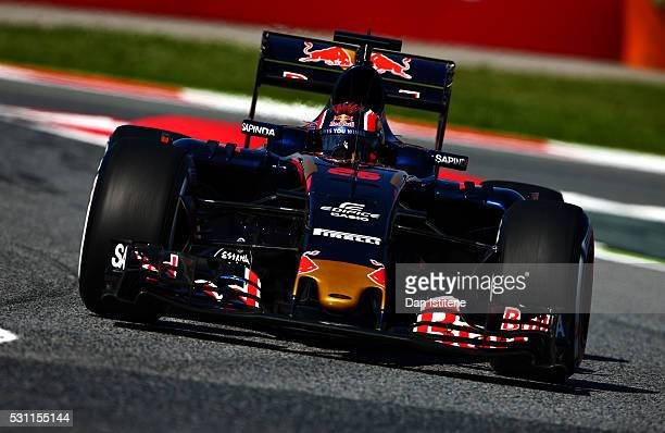 Daniil Kvyat of Russia driving the Scuderia Toro Rosso STR11 Ferrari 060/5 turbo on track during practice for the Spanish Formula One Grand Prix at...